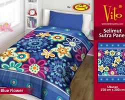 Grosir Selimut Vito Sutra Panel - Grosir Selimut Vito Sutra Motif Blue Flower